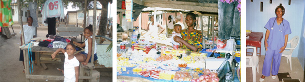 Marthaline sells used clothing    Maybel Mulbah sells dry goods   Cinneh Johnson in Nursing School