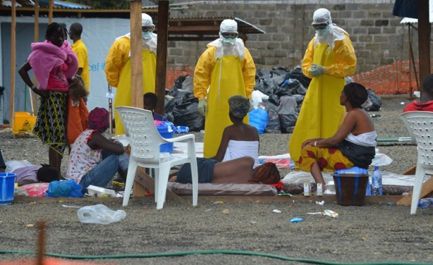 Ebola Patients at a treatment center operated by Medicins sans Frontieres