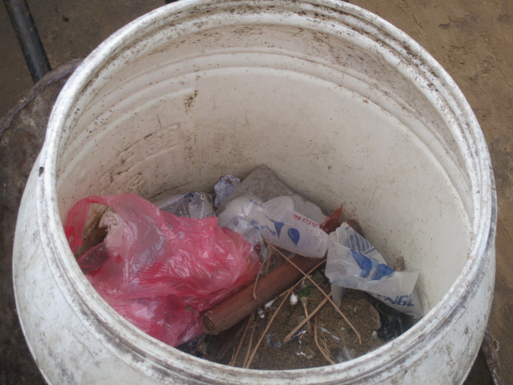 A sample of the garbage Otis collects in the community.