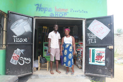 Eric and Kamah have a shop attached to their home where they sell all kinds of provision to their community. This is a means for them to help with the needs of their home.