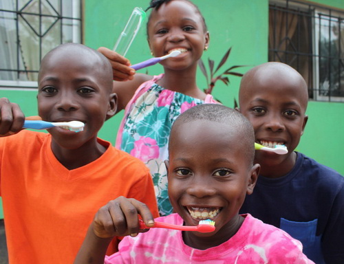 Rachel came with hundreds of toothbrushes and tooth paste for everyone! She taught them all how to properly brush their teeth. So fun!!