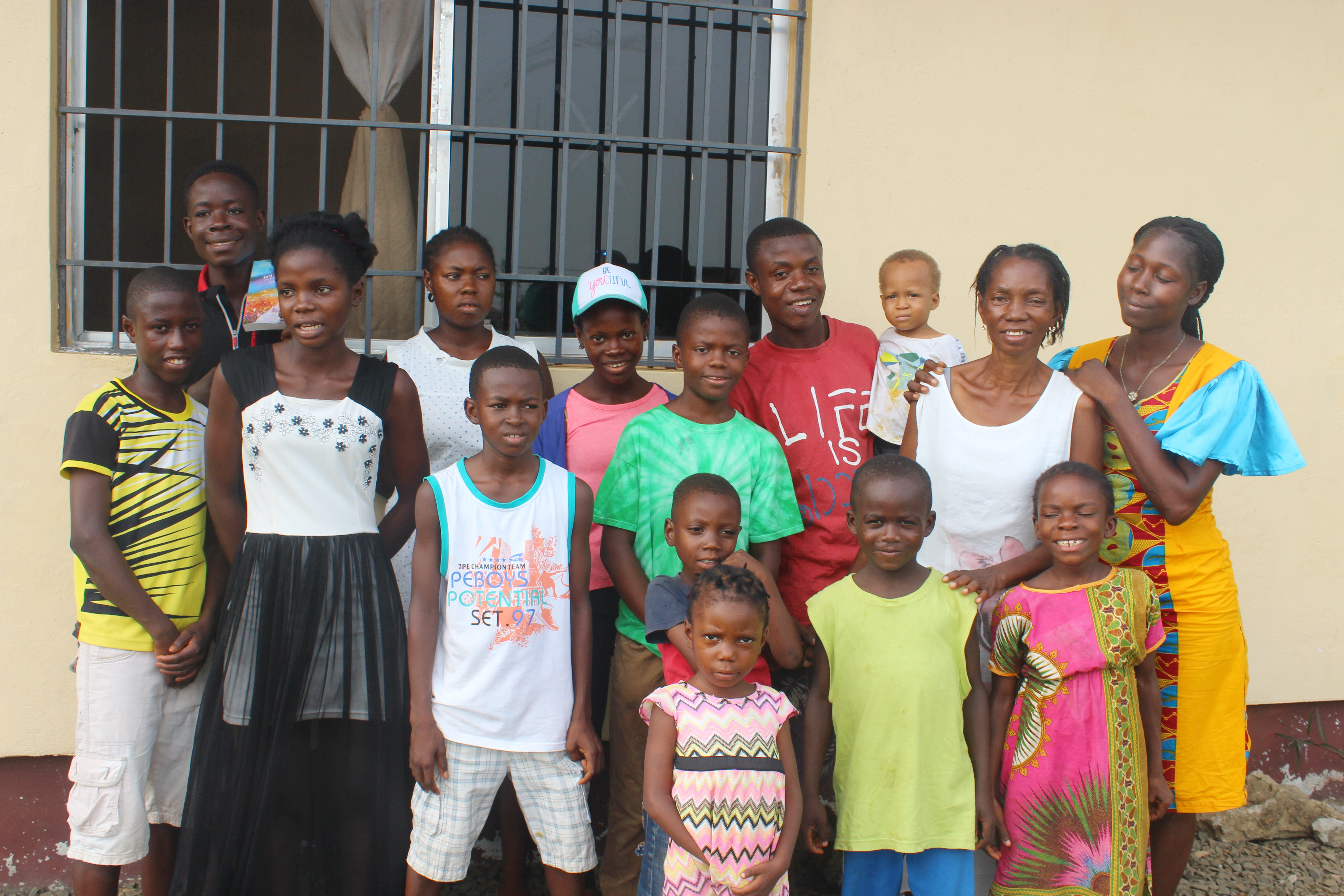 Ma Esther with her children in February 2020.
