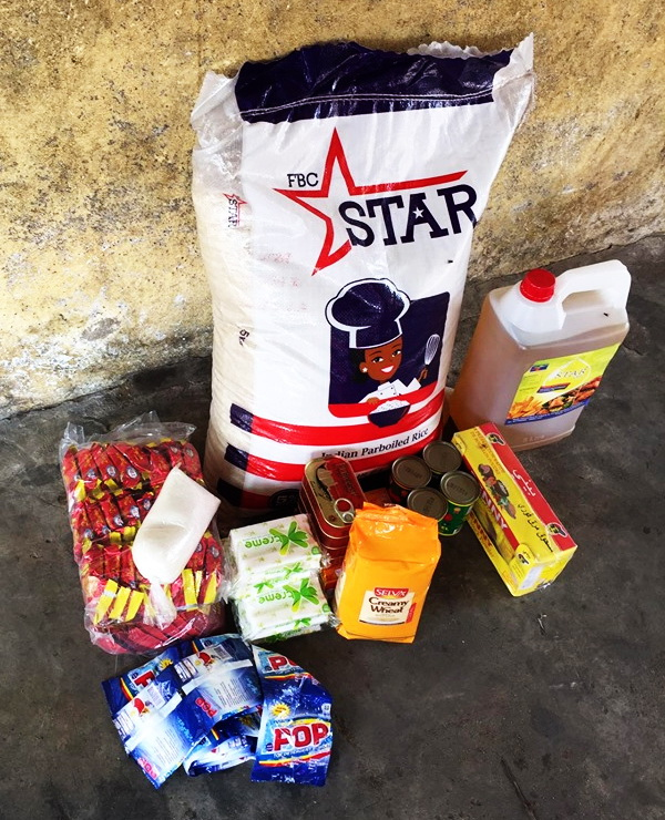 $ 50 Buys a Bag of Rice, Cream of Wheat, Cans of Fish, Hand washing soaps, Laundry soap, Vegetable Oil, Vita Cubes and Seasonings.