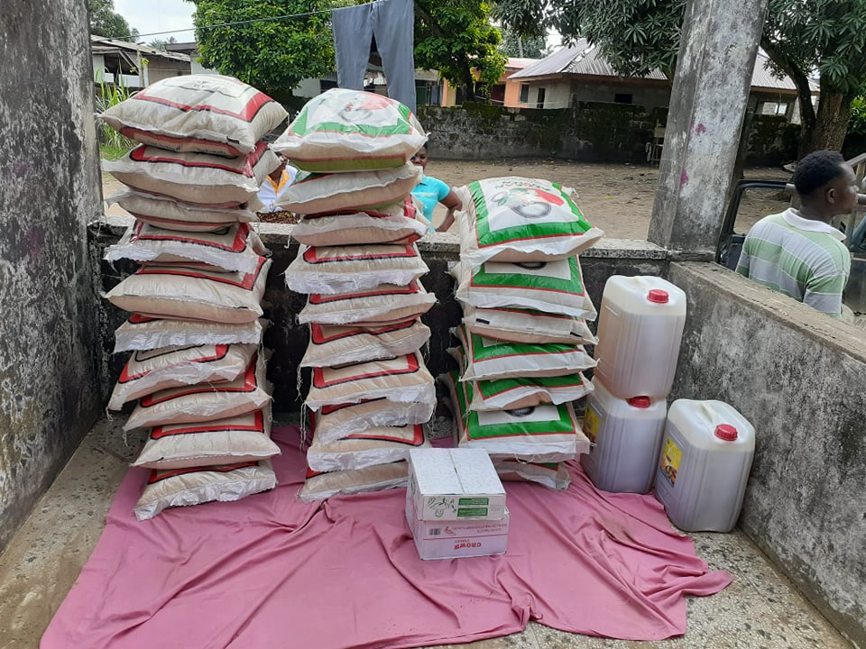 Bags of Rice and Oil ready to be Distributed in the Slum.