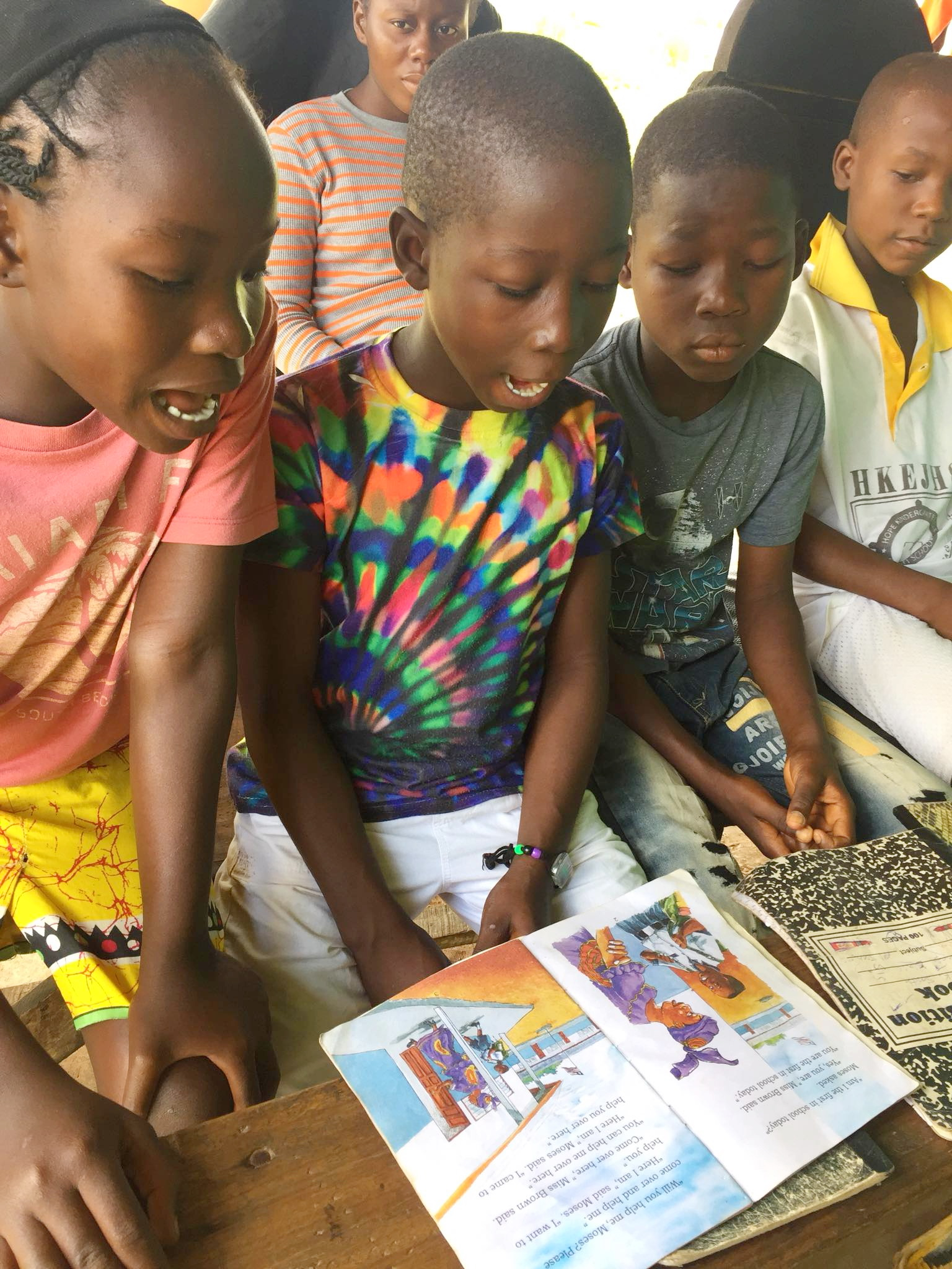 The children love to read.  Hopefully we can get more books for both our homes and schools.    One of our goals is to ship good books to Liberia in a container.  Schools and individuals would donate their books.
