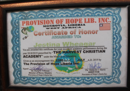 Provision of Hope likes to recognize students who excel in school.  This motivates others to try their best too.