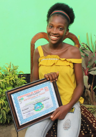 Jestina received an Honor Award for achieving good grades!
