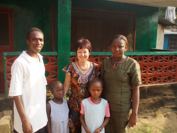 Jeremiah Gbellay with Nancy Hoff, Karen Barkman, Teta and Esther David on the day they arrived from their remote village.
