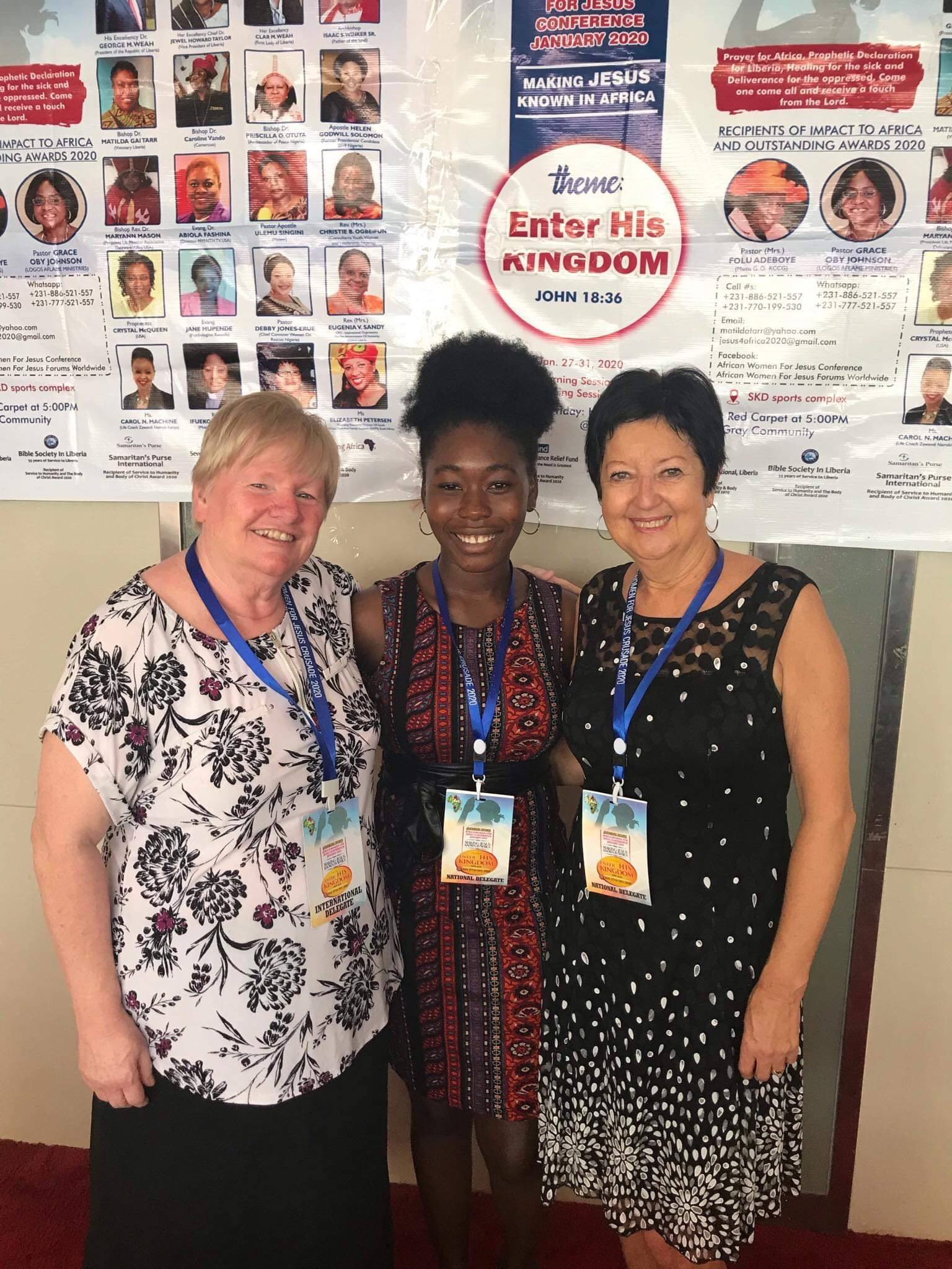 This photo was taken at the African Women for Jesus Conference in Liberia in January 2020.  It was so good to have Christiana there with us!!  Mae Clowe was  my traveling companion. This was such an enriching time for all of us!
