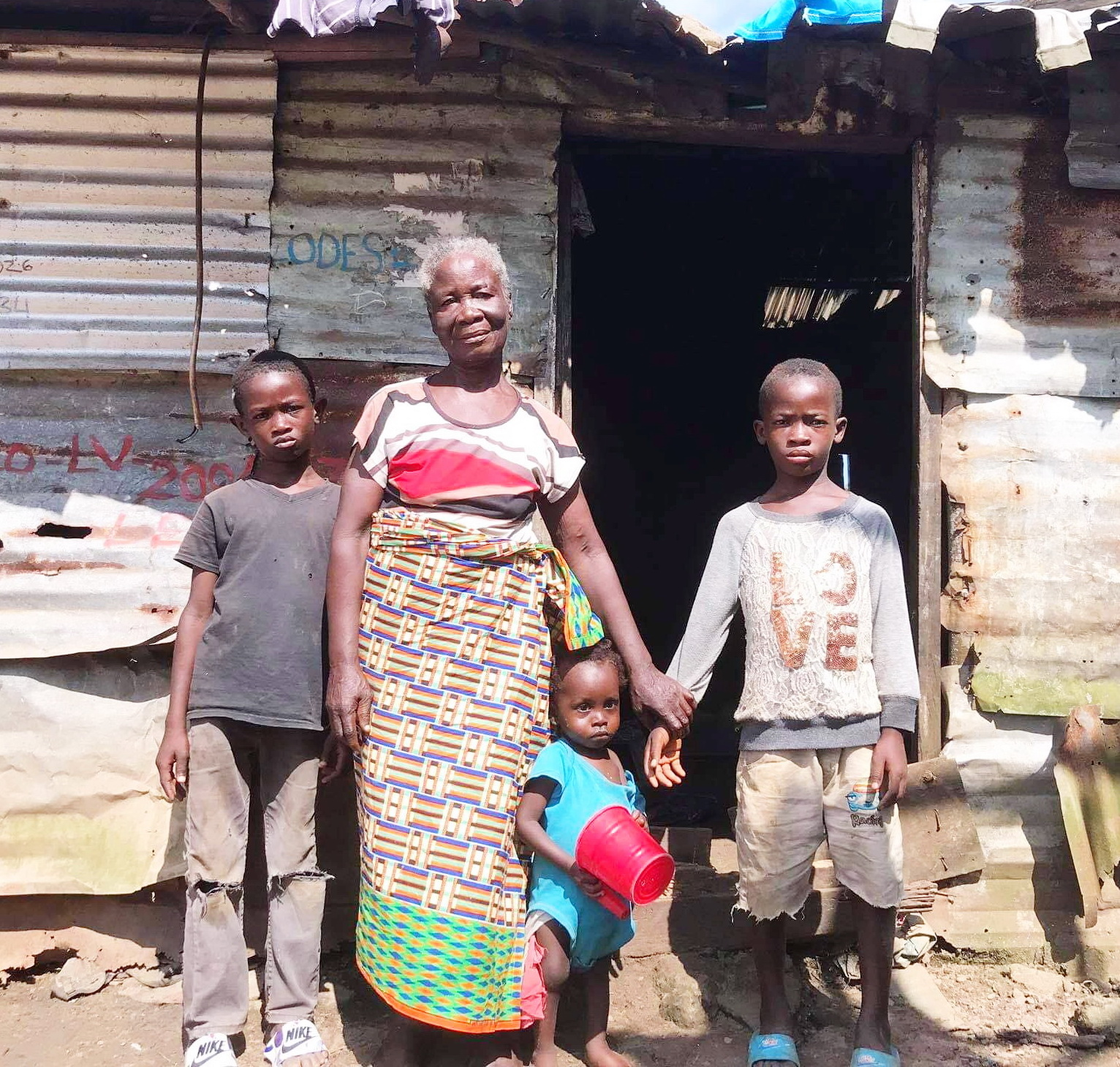 Grandma Esther Doe is on our list for the next widow to qualify for a new bed. These are her grand children. Grandma Esther is part of our widow gatherings twice a month.