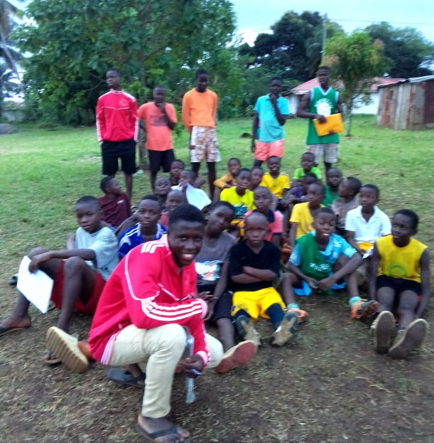 """Samuel has a passion to play soccer.  He has become the coach of 30 boys in the community.  He named this team """"God's Power Football""""  Samuel is young but so responsible!"""